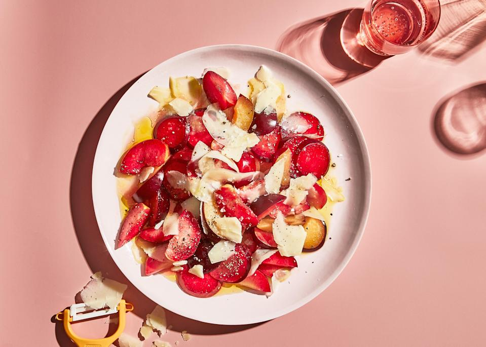 "Don't bother trying to halve and pit the plums before slicing them for this plum salad recipe. Instead, cut off slices, working your way from the outside to the pit. <a href=""https://www.bonappetit.com/recipe/plum-salad-with-black-pepper-and-parmesan?mbid=synd_yahoo_rss"" rel=""nofollow noopener"" target=""_blank"" data-ylk=""slk:See recipe."" class=""link rapid-noclick-resp"">See recipe.</a>"