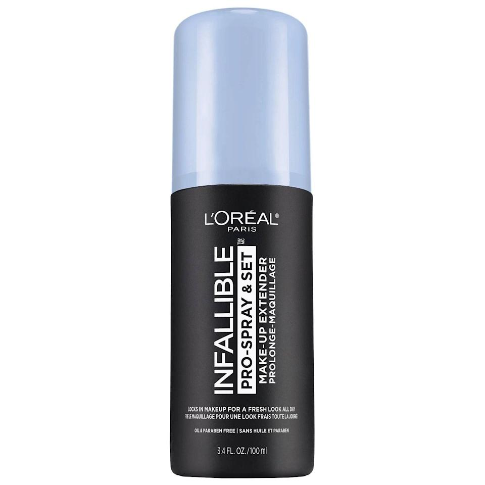 <p>The <span>L'Oreal Paris Infallible Pro-Mist &amp; Fix Finishing Spray</span> ($14) was developed to make your makeup look freshly applied all day and it does just that. It spritzes on with an ultrafine, undetectable mist that lightly mattifies skin, so you appear completely flawless until you're ready to wash your face clean.</p>