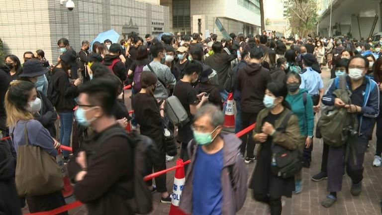 Hundreds gathered outside a Hong Kong court complex to show their support for dissidents charged with subversion