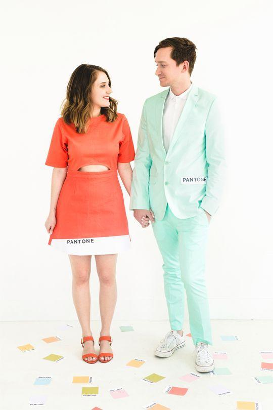 """<p>Put on your best dress, convince him to wear his favorite suit, and then call your pairing the ultimate color combo. It'll help if you go for complementary colors, of course. </p><p><em><a href=""""https://sugarandcloth.com/hipster-halloween-diy-pantone-color-combo-couples-costume/"""" rel=""""nofollow noopener"""" target=""""_blank"""" data-ylk=""""slk:Get the tutorial at Sugar and Cloth »"""" class=""""link rapid-noclick-resp"""">Get the tutorial at Sugar and Cloth »</a></em></p>"""