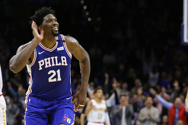 Joel Embiid egged on the home crowd after he hit a career high. (Rich Schultz/Getty Images)