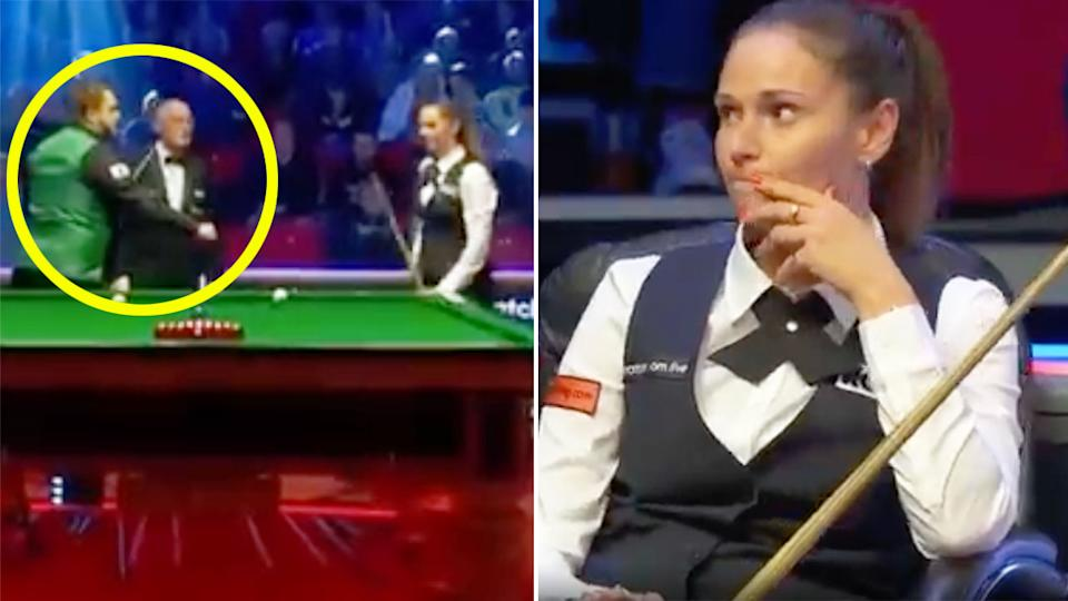 Pictured here, snooker player Reanne Evans ignored a fist bump offer from her ex Mark Allen.