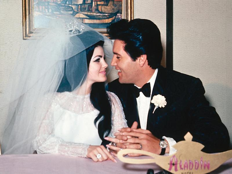 Priscilla and Elvis Presley (l-r), newlyweds, after getting married, Las Vegas, Nevada, photo