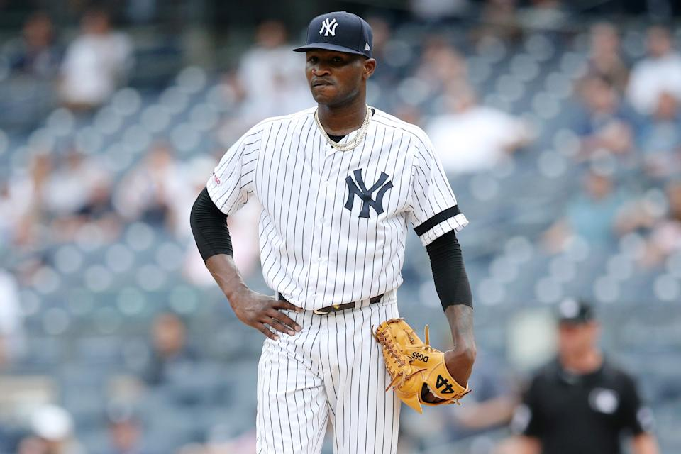 New York Yankees starting pitcher Domingo German was put on administrative leave Thursday by Major League Baseball. (Brad Penner-USA TODAY Sports)