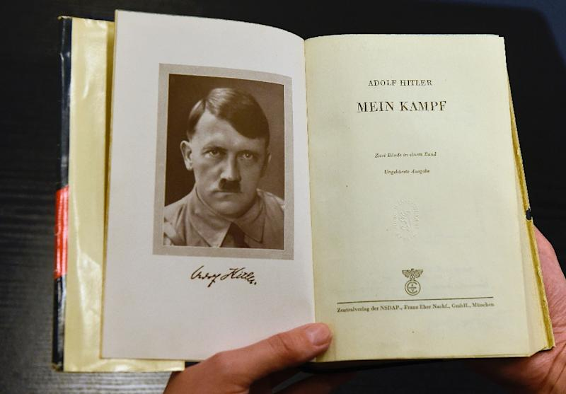 "A German edition of Adolf Hitler's ""Mein Kampf"" (My Struggle) is pictured at the Berlin Central and Regional Library in Berlin (AFP Photo/Tobias Schwarz)"