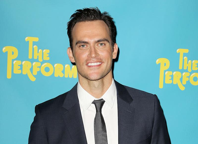 """FILE - This Sept. 25, 2012 file image originally released by Starpix shows Cheyenne Jackson, a cast member in the Broadway play, """"The Performers,"""" during a photo call in New York. The play, also starring Ari Graynor, Daniel Breaker, Jenni Barber, Alicia Silverstone and Henry Winkler, opens at Longacre Theatre on Nov. 14. (AP Photo/Starpix, Amanda Schwab, file)"""