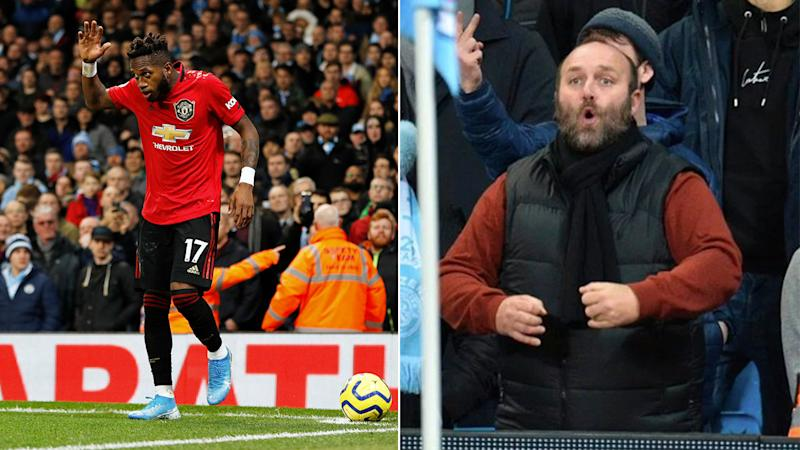 The football supporter was caught on camera racially abusing Manchester United's Fred.