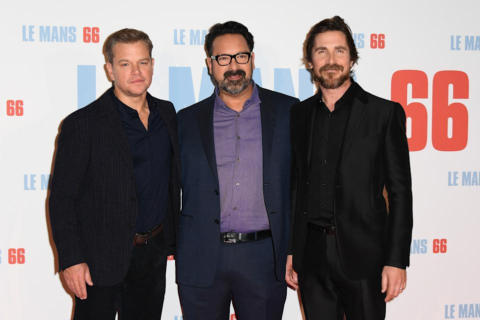 "PARIS, FRANCE - OCTOBER 06: Matt Damon, James Mangold and Christian Bale attend the ""Le Mans 66"" Premiere At Cinema Gaumont Champs Elysees on October 06, 2019 in Paris, France. (Photo by Dominique Charriau/WireImage)"