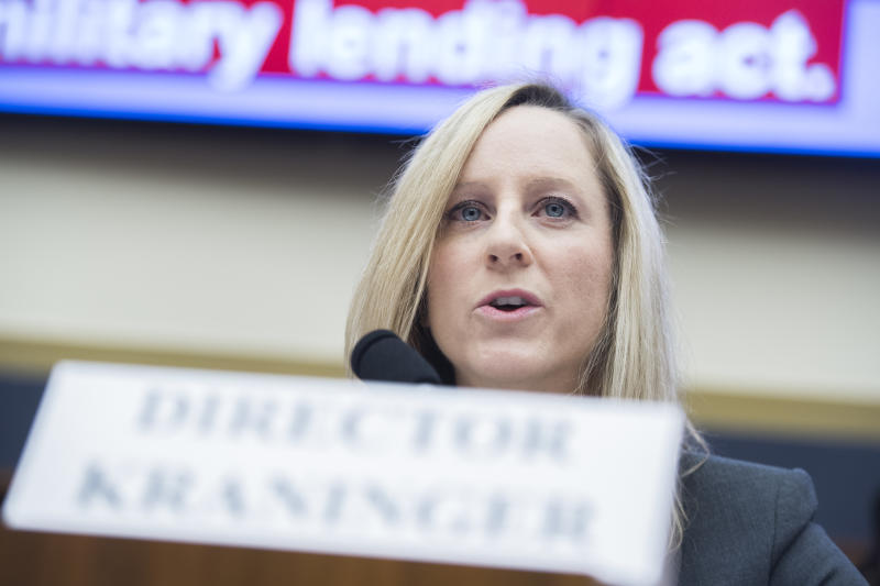 """UNITED STATES - MARCH 7: Kathy Kraninger, director of the Consumer Financial Protection Bureau, testifies at a House Financial Services Committee hearing titled """"Putting Consumers First? A Semi-Annual Review of the Consumer Financial Protection Bureau,"""" in Rayburn Building on Thursday, March 7, 2019. (Photo By Tom Williams/CQ Roll Call)"""