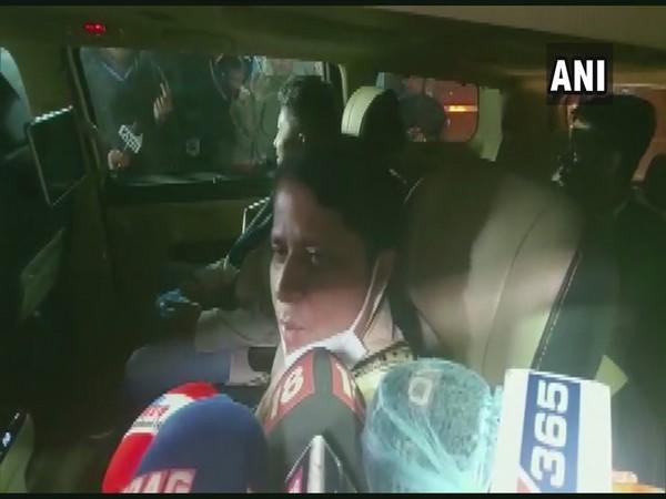 Former Congress leader Ajanta Neog speaking to reporters in Guwahati on Saturday [Photo/ANI]