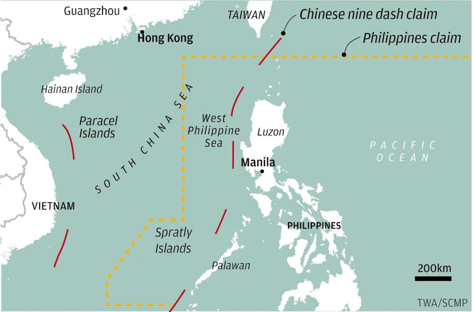 China and the Philippines have overlapping claims in the South China Sea. Map: TWA/SCMP