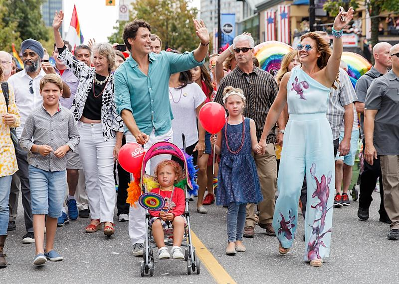 Canadian Prime Minister Justin Trudeau at the 2016 Vancouver Pride Parade with his wife, philanthropist Sophie Grégoire Trudeau, and their three children: Xavier, Hadrien and Ella-Grace.