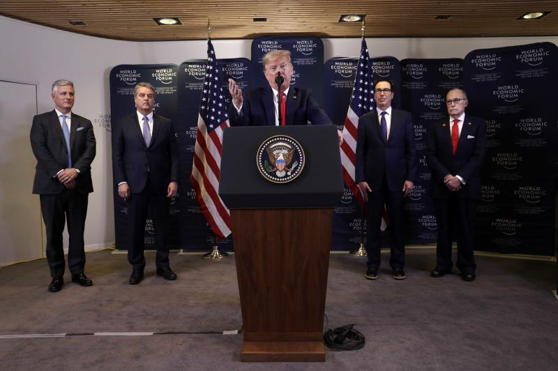 President Donald Trump speaks during a news conference at the World Economic Forum in Davos, Switzerland.