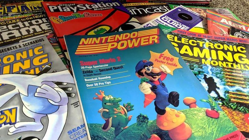 An array of old gaming magazines that are part of the Video Game HIstory Foundation's subscription service.