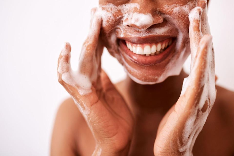 """<p>If you have acne prone skin, you already know that you need to be picky when it comes to choosing the right products—sometimes it seems like almost <em>anything </em>can cause a flare up. Luckily, there's no shortage of options for those with pimples, from <a href=""""https://www.oprahdaily.com/beauty/skin-makeup/g29039619/best-bb-cream-for-oily-skin/"""" rel=""""nofollow noopener"""" target=""""_blank"""" data-ylk=""""slk:lightweight BB creams"""" class=""""link rapid-noclick-resp"""">lightweight BB creams</a> to <a href=""""https://www.oprahdaily.com/beauty/skin-makeup/g31080909/best-serums-for-acne/"""" rel=""""nofollow noopener"""" target=""""_blank"""" data-ylk=""""slk:acne serums that treat active breakouts"""" class=""""link rapid-noclick-resp"""">acne serums that treat active breakouts</a> to <a href=""""https://www.oprahdaily.com/beauty/skin-makeup/g32009018/best-moisturizer-for-oily-skin/"""" rel=""""nofollow noopener"""" target=""""_blank"""" data-ylk=""""slk:moisturizers that hydrate oily skin"""" class=""""link rapid-noclick-resp"""">moisturizers that hydrate oily skin</a> without leaving it feeling greasy. And of course, you've heard all about the tried-and-true acne-fighting ingredients like <a href=""""https://www.oprahdaily.com/beauty/skin-makeup/a31786832/what-is-salicylic-acid/"""" rel=""""nofollow noopener"""" target=""""_blank"""" data-ylk=""""slk:salicylic acid"""" class=""""link rapid-noclick-resp"""">salicylic acid</a> or benzoyl peroxide and their incredible skin-clearing powers. </p><p>But the very first step in your skincare routine and, arguably, the most basic, can have a profound effect on whether or not you experience breakouts (or <a href=""""https://www.oprahdaily.com/beauty/skin-makeup/a31194611/how-to-get-rid-of-blackheads/"""" rel=""""nofollow noopener"""" target=""""_blank"""" data-ylk=""""slk:get blackheads"""" class=""""link rapid-noclick-resp"""">get blackheads</a>), dermatologists say. """"If you have acne, the goal of a cleanser is to remove soiling from the skin without compromising the integrity of the skin barrier,"""" says <a href=""""https://phdermatology.com/about/dermato"""