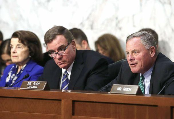 PHOTO: Chairman Richard Burr (R), speaks while flanked by ranking member Sen. Mark Warner (C), and Sen. Dianne Feinstein, during a Senate Intelligence Committee hearing, on Capitol Hill August 1, 2018 in Washington, D.C. (Mark Wilson/Getty Images)
