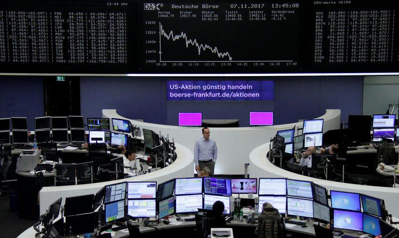 The German share price index, DAX board, is seen at the stock exchange in Frankfurt, Germany, November 7, 2017. REUTERS/Staff/Remote