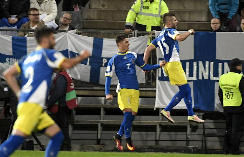 Valon Berisha scored Kosovo's first competitive goal in 2016. (Credit: Getty Images)