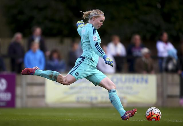 <p>Swedish goalkeeper Hedvig Lindahl plays for Chelsea and has been named the country's goalkeeper of the year five times, including both in 2014 and 2015. She married her wife, Sabine Willms, in 2011, and their son was born in 2014. (Getty) </p>