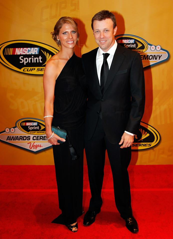 LAS VEGAS, NV - DECEMBER 02:  (R) NASCAR driver Matt Kenseth and wife Katie Kenseth attend the NASCAR Sprint Cup Series Champion's Week Awards Ceremony at Wynn Las Vegas on December 2, 2011 in Las Vegas, Nevada.  (Photo by Todd Warshaw/Getty Images for NASCAR)
