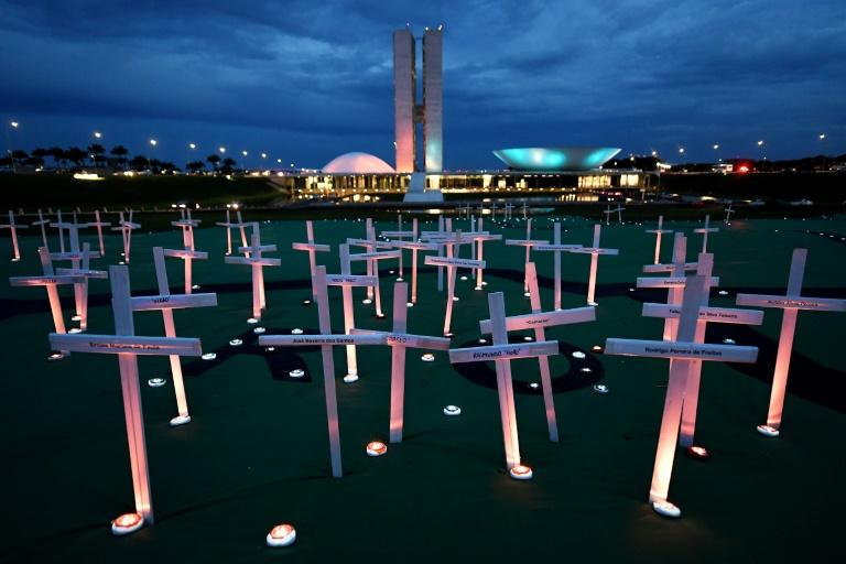 Greenpeace activists set up crosses in front of the National Congress in Brasilia to protest deaths related to illegal logging in the Brazilian Rainforest