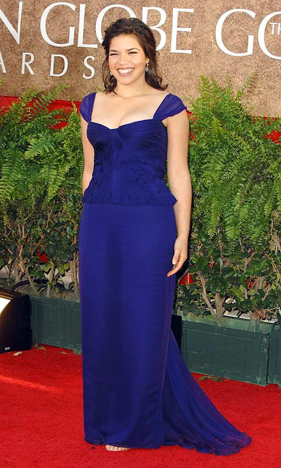 "America Ferrera looked like a princess in this royal blue dress from 2007; but her pose didn't highlight her natural curves. George Pimentel/<a href=""http://www.wireimage.com"" target=""new"">WireImage.com</a> - January 15, 2007"