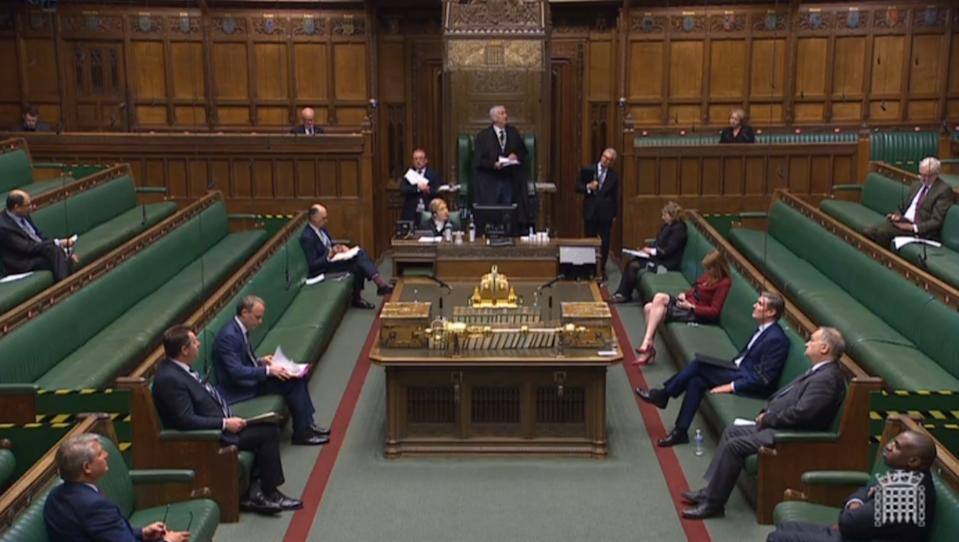 Screen grab of Speaker Sir Lindsay Hoyle speaking during Prime Minister's Questions in the House of Commons, London.