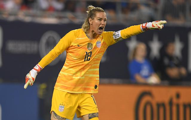 USWNT goalkeeper Ashlyn Harris wants to hear more men speaking out about equal pay issues. (Photo by Brad Smith/ISI Photos/Getty Images)