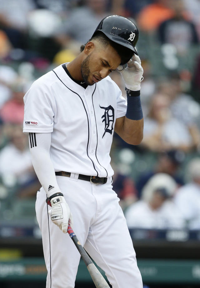 Detroit Tigers center fielder Victor Reyes (22) strikes out during the fourth inning of the first game of a baseball doubleheader against the New York Yankees, Thursday, Sept. 12, 2019, in Detroit. (AP Photo/Duane Burleson)