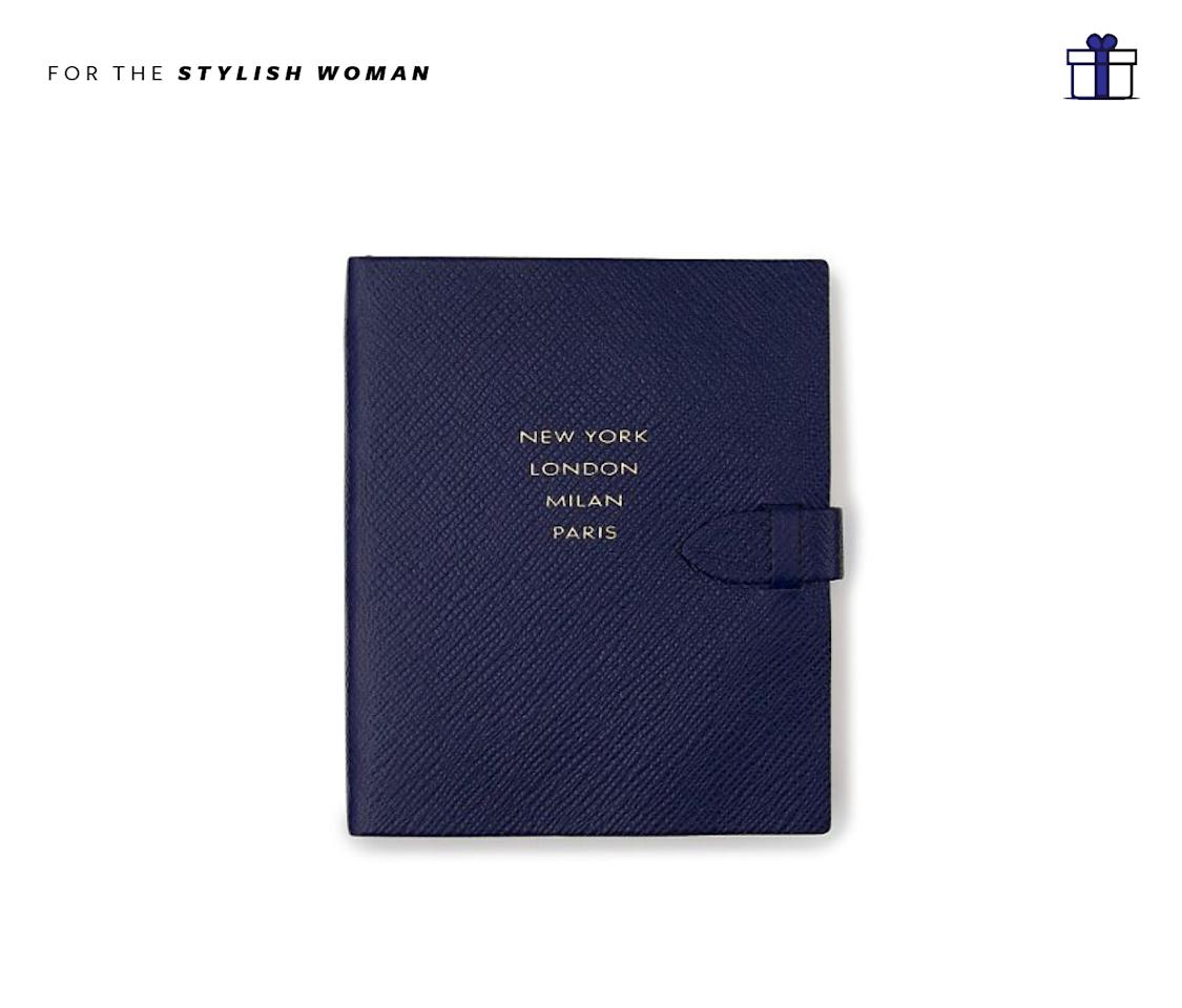 """<p>A notebook featuring the world's four stylish cities of course. Runway Notes Premier Notebook, $110, <a rel=""""nofollow"""" href=""""http://www.smythson.com/us/navy-runway-notes-premier-notebook-1017850.html"""">smythson.com</a> </p>"""
