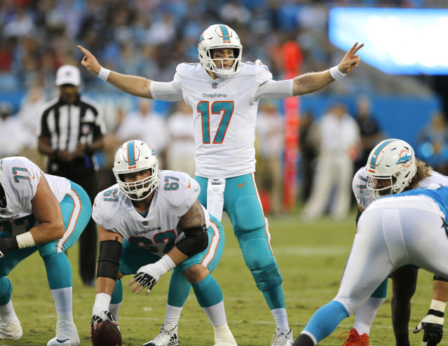 """Can <a class=""""link rapid-noclick-resp"""" href=""""/nfl/players/25718/"""" data-ylk=""""slk:Ryan Tannehill"""">Ryan Tannehill</a> continue to win for Miami and fantasy owners? Yahoo fanalyst Liz Loza likes his chances. (AP Photo/Nell Redmond, File)"""