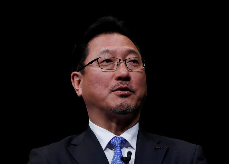 Nissan Motor executive officer and vice-COO Jun Seki  speaks during a news conference at Nissan Motor headquarters in Yokohama
