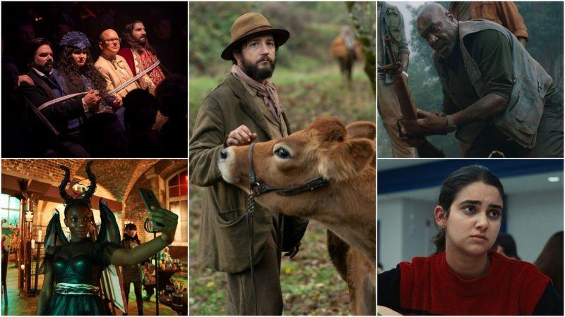 Clockwise from left: The cast of What We Do In The Shadows (Photo: Russ Martin/FX), John Magaro in First Cow (Photo: A24), Delroy Lindo in Da 5 Bloods, Geraldine Viswanathan in Bad Education (Photo: HBO), Michaela Coel in I May Destroy You (Photo: Natalie Seery/HBO)