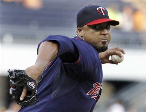 Minnesota Twins starting pitcher Francisco Liriano throws against the Pittsburgh Pirates in the third inning of the baseball game on Wednesday, June 20, 2012, in Pittsburgh. (AP Photo/Keith Srakocic)