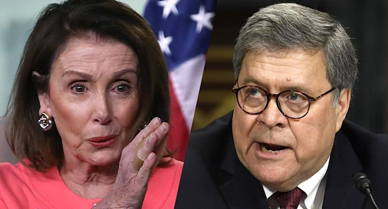 House Speaker Nancy Pelosi and Attorney General William Barr. (Photos: Jim Watson/AFP/Getty Images, Susan Walsh/AP)