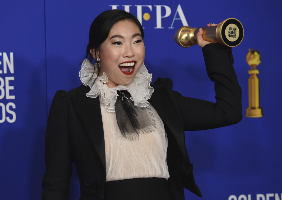 Awkwafina at the 2020 Golden Globes. - Credit: Chris Pizzello/Invision/AP
