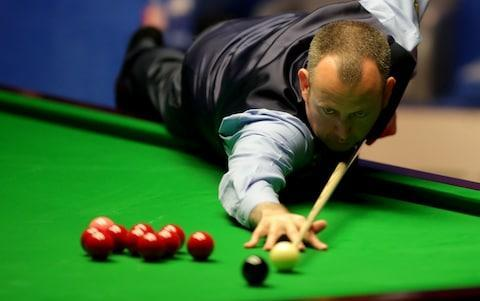 <span>Mark Williams lines up the black</span> <span>Credit: PA </span>