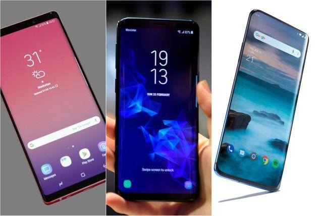 Samsung Galaxy Note 9, Samsung Galaxy S9 and OnePlus 7 Pro.