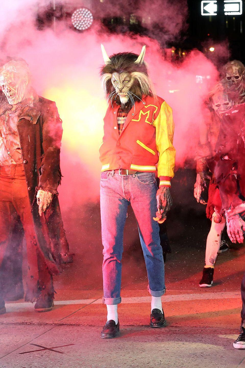 """<p>You can't celebrate Halloween without busting out a """"Thriller"""" dance. She brought <a href=""""https://www.goodhousekeeping.com/holidays/halloween-ideas/g4544/80s-costumes-halloween/"""" rel=""""nofollow noopener"""" target=""""_blank"""" data-ylk=""""slk:the 1982 music video"""" class=""""link rapid-noclick-resp"""">the 1982 music video</a> to the streets of New York City in this nearly-identical Michael Jackson outfit.</p>"""