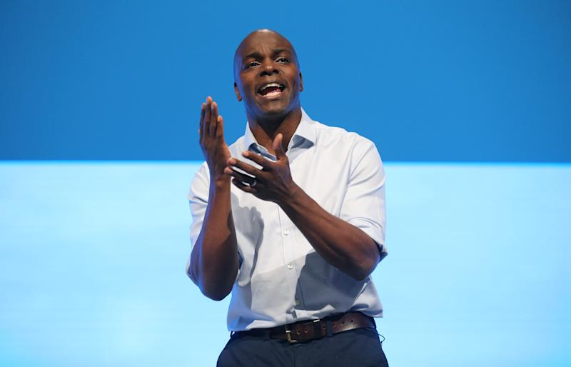 Shaun Bailey, Conservative party candidate for the 2020 London Mayoral Election candidate, speaking on the third day of the Conservative Party Conference being held at the Manchester Convention Centre. Picture dated: Tuesday October 1, 2019. Photo credit should read: Isabel Infantes / EMPICS Entertainment.