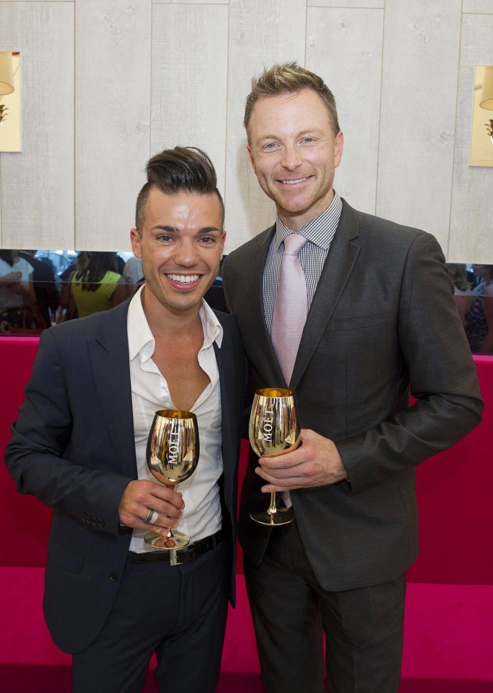 Anthony Callea and Tim Campbell attend Magic Millions Race Day on January 11, 2014 in Gold Coast, Australia