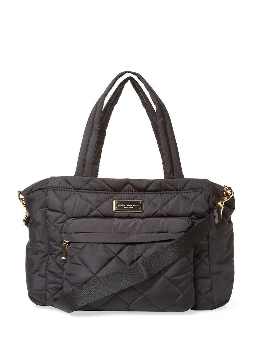 Chic and discreet. No one will guess this stylish bag is filled with diapers.