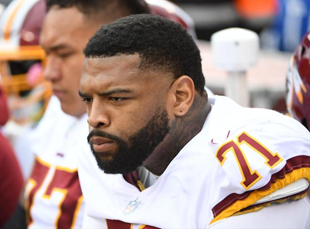 Redskins offensive tackle Trent Williams is angling for a contract extension and was a no-show at the start of training camp. (Getty Images)