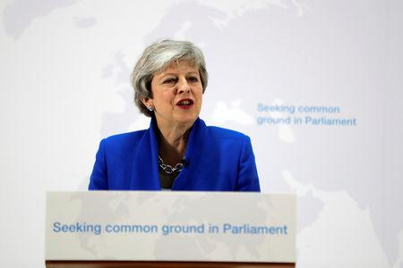 Britain's Prime Minister Theresa May delivers a speech on Brexit in London, Britain May 21, 2019. Kirsty Wigglesworth/Pool via REUTERS