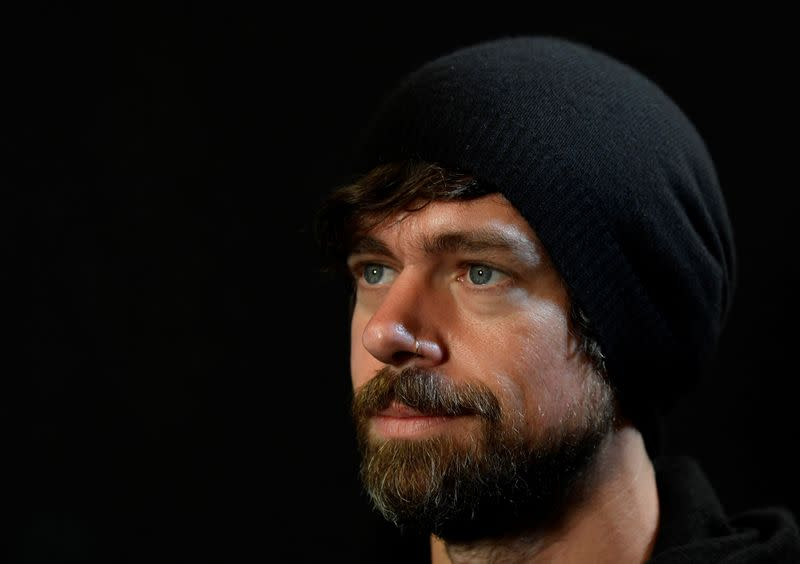 Dorsey, co-founder of Twitter and fin-tech firm Square, sits for a portrait during an interview with Reuters in London