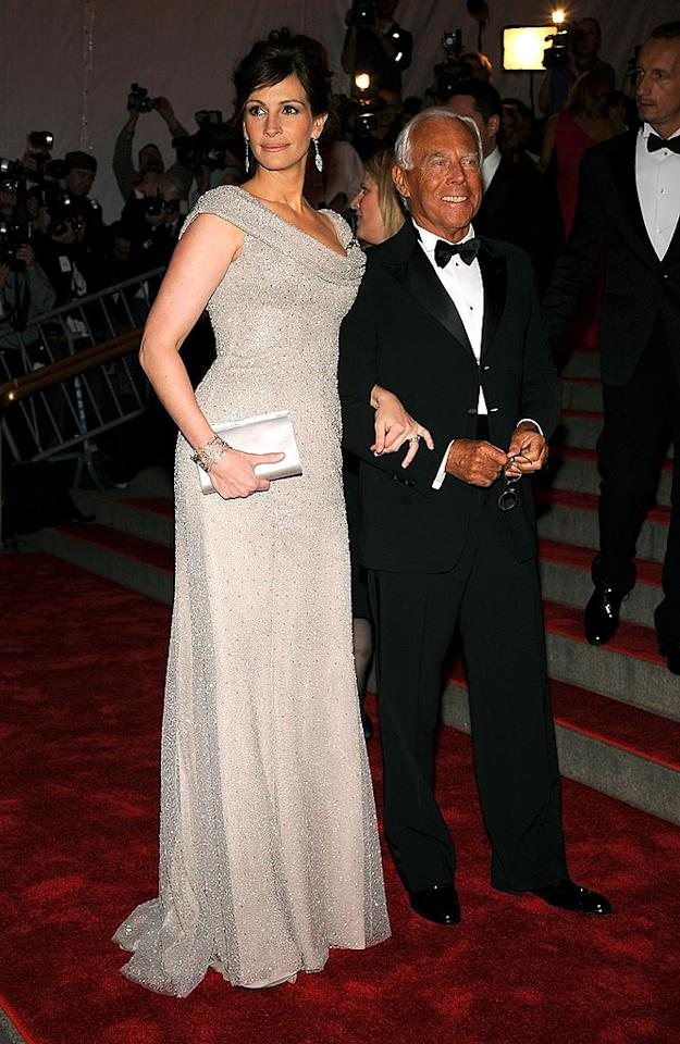 "Julia Roberts arrived with event co-host Giorgio Armani in a beaded creation from the designer's couture collection. Dmitrios Kambouris/<a href=""http://www.wireimage.com"" target=""new"">WireImage.com</a> - May 5, 2008"