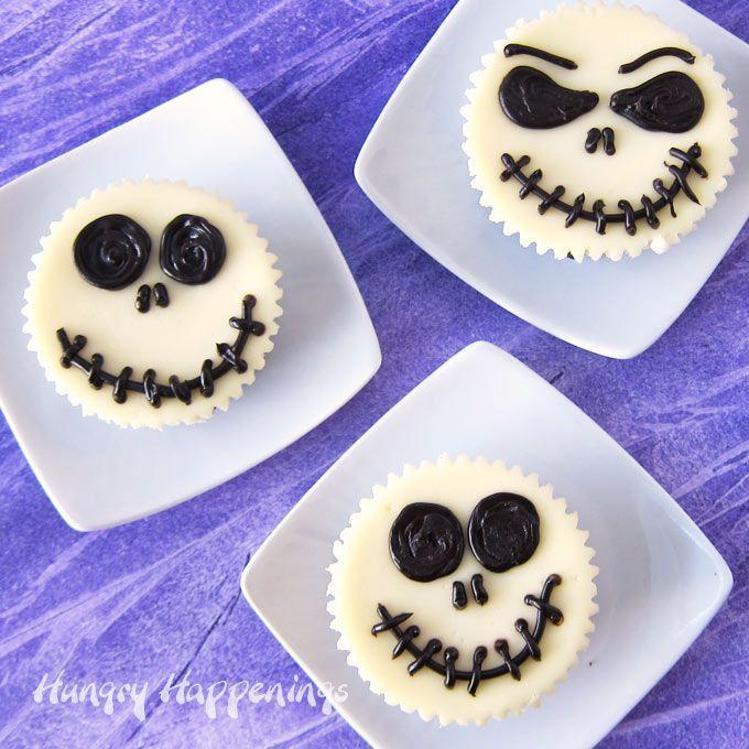 """<p>Jack has never looked (or tasted) better. These mini cheesecakes are made with a graham cracker crust, a cheesecake filling, and topped with chocolate ganache. </p><p><strong>Get the recipe at <a href=""""https://hungryhappenings.com/jack-skellington-cheesecakes/"""" rel=""""nofollow noopener"""" target=""""_blank"""" data-ylk=""""slk:Hungry Happenings"""" class=""""link rapid-noclick-resp"""">Hungry Happenings</a>.</strong> </p>"""
