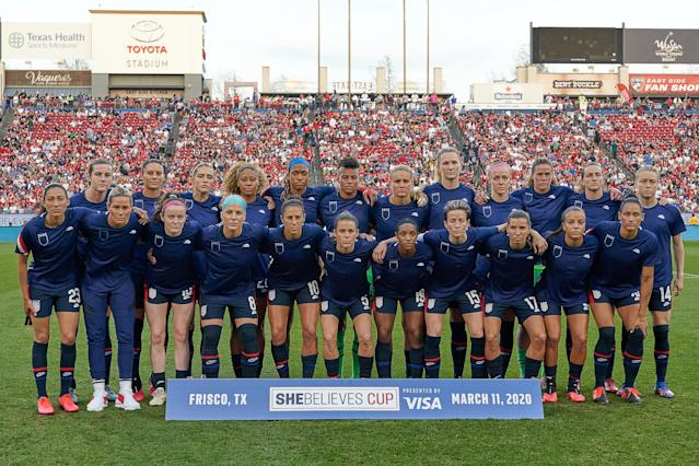 The World Cup-winning USWNT wore their jerseys inside out earlier this month to protest a sexist legal argument made by U.S. Soccer, but an equal pay settlement could be on the horizon. (Robin Alam/Getty)