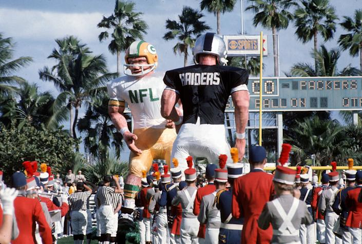 The National Anthem is played before the start of Super Bowl II between the Green Bay Packer and Oakland Raiders January 14, 1968 at the Orange Bowl in Miami, Florida. The Packers won the game 33-14.
