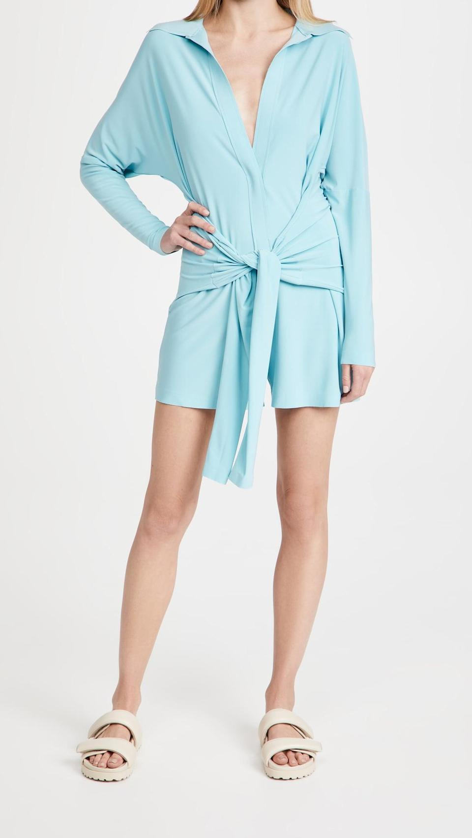 <p>The color and silhouette of this <span>Norma Kamali Tie Front Jumpshorts Romper</span> ($165) is so adorable.</p>